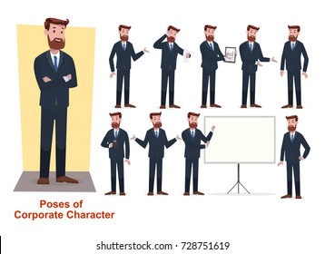 Set of corporate/ businessman character with beard and suite