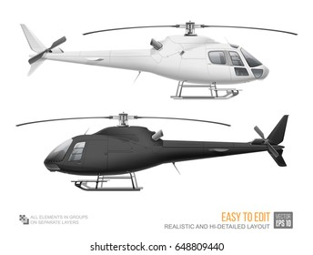 Set of Corporate Helicopter - vector template isolated on white background. Black helicopter mockup template for branding identity design. White Eurocopter. Passenger aviation mockup