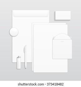 Set Of Corporate Identity And Branding Stationery Templates. Business card, Pen, CD, Envelope, Notebook, Lighter, Icon. Illustration On Gray Background. Mock Up Template Ready For Your Design. Vector
