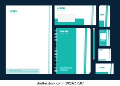 Set of Corporate identity branding template. With a simple design. Using turquoise green. Vector illustration