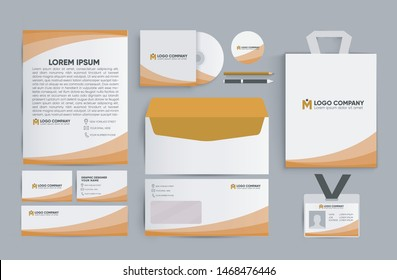 set of corporate identity mock up with orange color.Editable design template