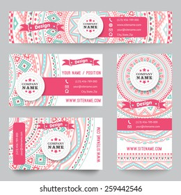 Set of corporate identity templates with doodles tribal theme. Vector illustration for pretty design. Ethnic vintage patterns. Pink, blue and white colors. Border, frame, icon elements.