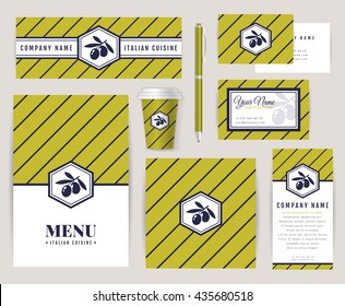 Set of corporate identity templates with olive logo. Italian cuisine themes. Menu, id card, banners, coffee cup and business card. Elegant branding design for restaurant or cafe. Vector collection.
