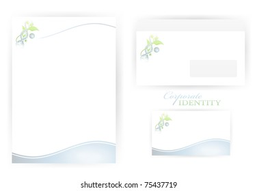 set of corporate identity templates with organic science and DNA elements