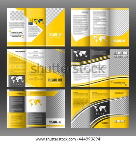 set corporate trifold brochure templates design stock vector