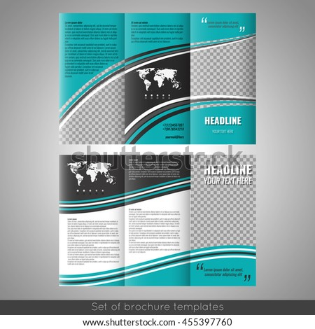 set corporate trifold brochure templates design stock vector