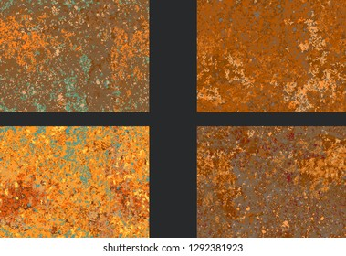 set corrosion  rusty texture, imitation of rust. Vector pattern corrosion