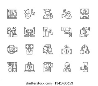 Set of corruption Related Vector Line Icons. Includes such Icons as bribe, lawyer, law, prison, prison term, money, transfer, evil, crime, offense, stroke, isolated