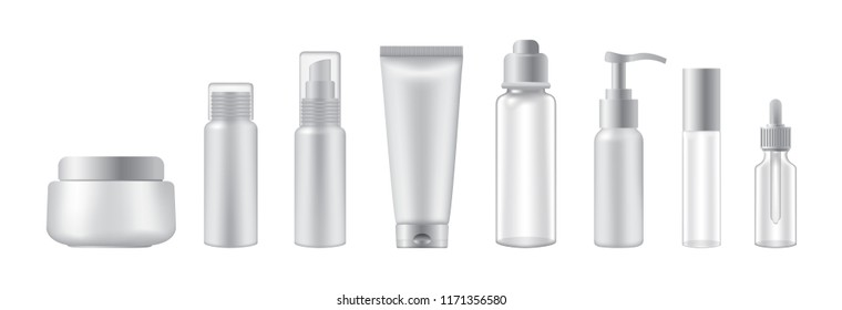 Set of cosmetic bottles on white background, realistic vector illustration