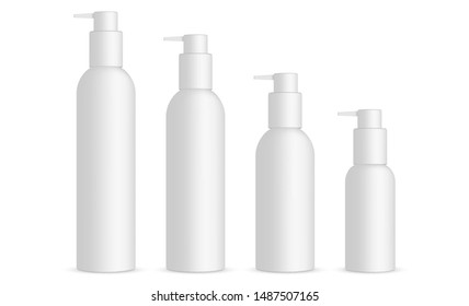 Set of cosmetic bottles with pump 120ml, 100ml, 60ml, 30ml, isolated on white background. Vector illustration