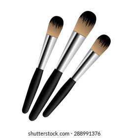 Set of cosmetic brush, makeup brushes. Vector. Isolated. Cosmetic products fashion, woman symbol blush beauty flour icon.