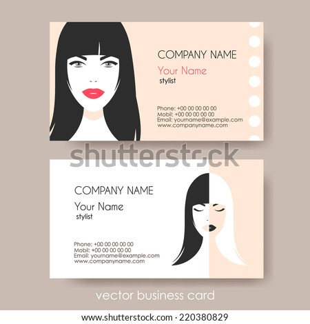Set Cosmetic Business Cards On Grey Stock Vector Royalty Free