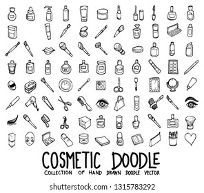 Set of cosmetic icons Drawing illustration Hand drawn doodle Sketch line vector