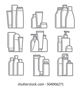set of cosmetic icons on a white background. vector illustration.