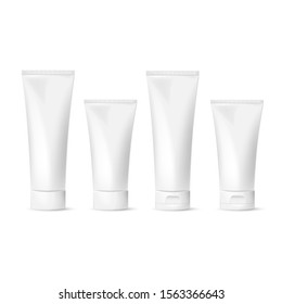 Set Cosmetic package for cream, soups, foams, shampoo isolated on white background. Vector illustration. Eps 10.