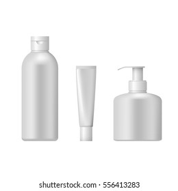 Set of cosmetic packaging isolated on white background. Cosmetic package for cream,  shampoo and liquid soap.