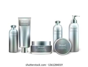 Set of Cosmetic Products Isolated on White Background. Series of Different Daily Beauty Care Products Silver Containers for Cream, Ointment, Lotion, Shampoo and Soap. 3D Vector Realistic Illustration.