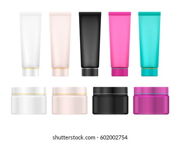 Set of cosmetic products, template, isolated on white background. Collection for cream, soups, foams, shampoo, lotions. Vector illustration.