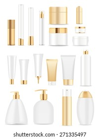 Set of cosmetic tubes isolated on white. Gold and white colors. Place for your text. Vector