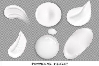 Set of cosmetic white cream texture. Cosmetic cream smears realistic icon set. Smears of thick white cosmetic cream. Set of realistic concealer smear strokes. Realistic gel or foam drop.