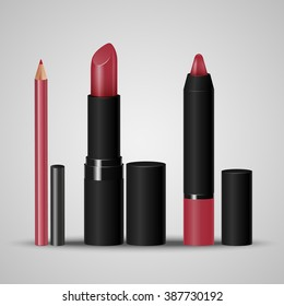 Set of cosmetics for make-up lips. Lip liner, lipstick, crayon. Vector illustration