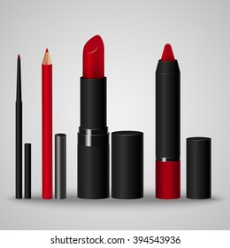 Set of cosmetics for make-up lips. Lip liner, lip pencil, lipstick, crayon. Vector illustration
