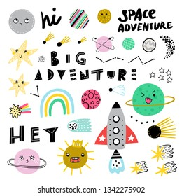 ?ute set of cosmic elements. Kawaii characters, sun, spaceship and planets vector illustration for kids. Isolated design elements for children.