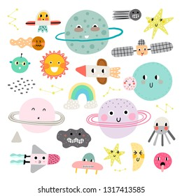 ?ute set of cosmic elements. Kawaii moon, sun and planets vector illustration for kids. Isolated design elements for children.