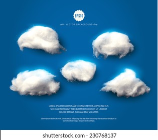 Set of cotton clouds. Wadding clouds on blue night-sky background. Vector illustration