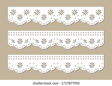 Set of Cotton Lace Eyelets, Decorative Fabric Borders