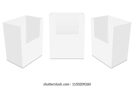 Set of countertop display boxes mockups isolated on white background. Vector illustration
