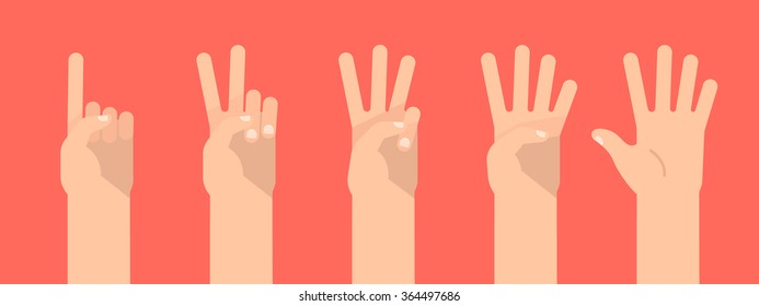 Set of counting hand sign from one to five. Communication gestures concept. Vector illustration isolated on colorful background flat design.