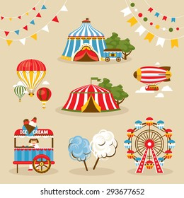 Set of country fair objects vector illustration