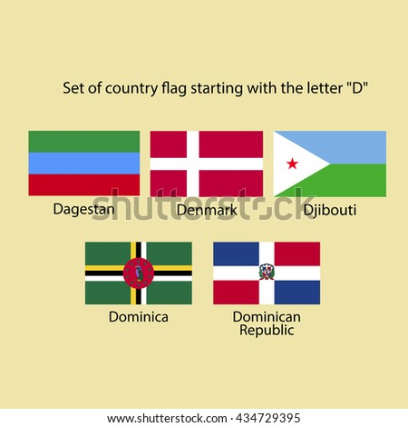Set Country Flag Starting Letter D Stock Vector (Royalty Free