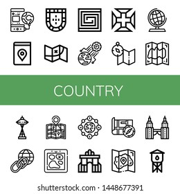 Set of country icons such as World, Map, Portugal, Portuguese, Portugal cross, Globe, Space needle, Earth, Rua augusta, Petronas twin tower, Water tower , country