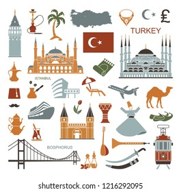 Set of country Turkey culture and traditional symbols. Collection of icons mosque and tower, hookah, tea, musical instruments, weapons