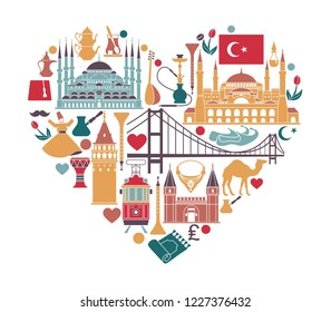 Set of country Turkey culture and traditional symbols. Collection of icons mosque and tower, hookah, tea, musical instruments in the form of heart