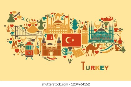 Set of country Turkey culture and traditional symbols. Collection of icons mosque and tower, hookah, tea, musical instruments in the form of map