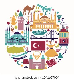 Set of country Turkey culture and traditional symbols. Collection of icons mosque and tower, hookah, tea, musical instruments in the form of circle