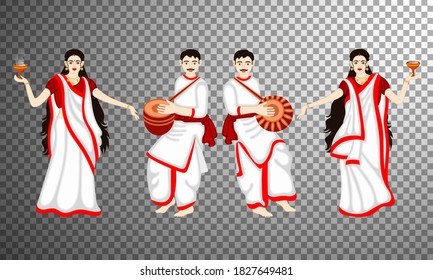 Set of couple characters for the celebration festival of west bengal shubh bijoya or durga puja men and women dress up white and red traditional bengal.