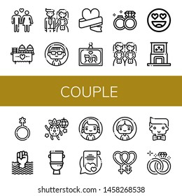 Set of couple icons such as Heterosexual, Wedding, Bride, Woman, Wedding photo, Wedding rings, Brides, In love, Dance, Genderqueer, World pride day, Dancing, Toilet, Vows , couple