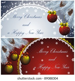set of couple new year cards with christmas decor