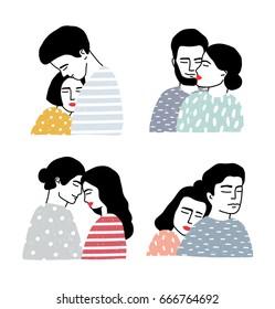 Set of couples in love. Portraits of loving guy and girl. Gentle hugs and kisses collection. Colorful vector illustration in cartoon style.