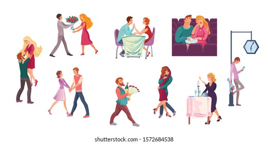 Set of couples on romantic dates in different situations. Vector illustration in flat cartoon style.