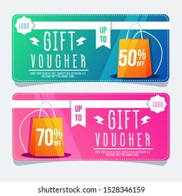 Set of coupon voucher banner. Special offer templates, Discount labels. Up to 50 percent off vector coupon . Half price colorful coupon. Shoping background. Creativ design illustration