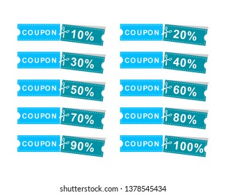 Set of Coupons discount banner 10%, 20%, 30%, 40%, 50%, 60%, 70%, 80%, 90%, 100%, offers