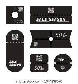 Set of coupons with sale season writing with QR codes. Ticket template