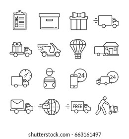 Set of courier Related Vector Line Icons. Includes such Icons as shipping, transport, transportation, consignment, parcel, packaging