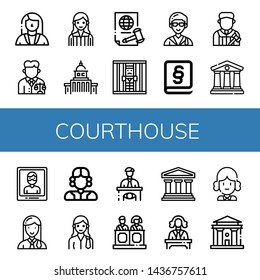 Set of courthouse icons such as Lawyer, Judge, Government, Justice, Jail, Law, Courthouse, Arrest, Eyewitness, Jury, Legal , courthouse
