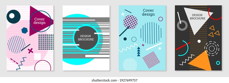 Set of cover design in Memphis style. Geometric design, abstract background. Fashionable bright cover, banner, poster, booklet. Creative colors. Vector